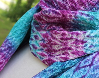 Handwoven Scarf, Shibori, Rayon, Blue, Purple, Original