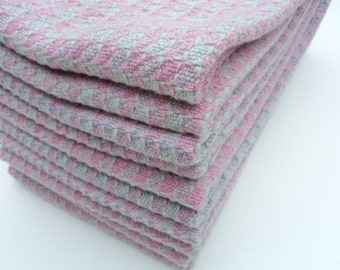 Bunny Towel, Hand Woven, Pink, Grey, Cotton