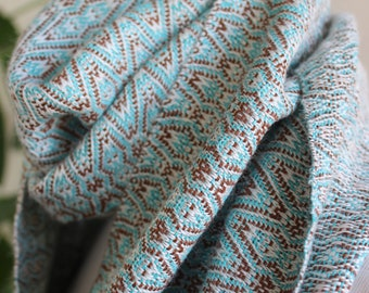 Handwoven Scarf, M and W Echo, Turquoise, Brown, White,  Orlon