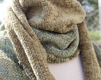 Handwoven Scarf, Cotton, Chenille, Sage, Beige, Unisex