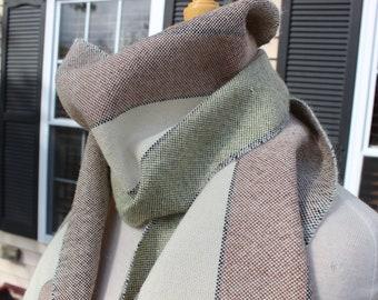Handwoven Scarf, Alpaca, Silk, White, Brown, Green, Unisex