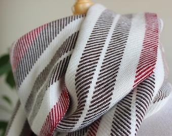 Handwoven Scarf, Twill, Stripes, Red, White, Brown, Merino, Tencel
