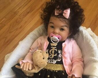 CUSTOM AA Biracial Ethnic 'Cookie' BIG 9 mos Reborn Doll Baby Girl/Boy