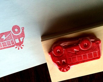 Fire Truck hand carved rubber stamp