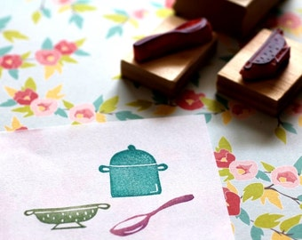 Kitchen rubber stamp set - three hand carved rubber stamps