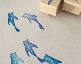 Fish rubber stamp set // hand carved rubber stamps//hand crafted