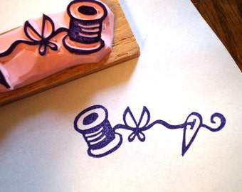Sewing rubber stamp// hand carved rubber stamp