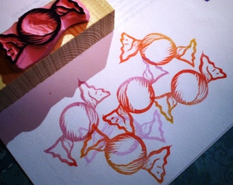 Candy rubber stamp //hand carved rubber stamp