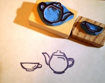Tea party hand carved rubber stamp set 2
