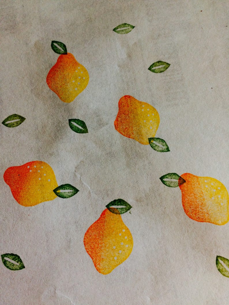 Fruit rubber stamp sethand carved and hand crafted