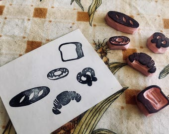 Bread rubber stamp set//hand carved and hand crafted