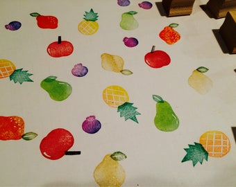 Fruit rubber stamp set//hand carved and hand crafted