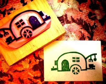 Camper rubber stamp - hand carved rubber stamp