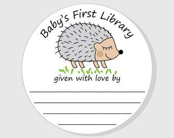 Baby Shower Bookplate Hedgehog Stickers - Baby's First Library - Personalized This Book Belongs To Stickers - Boy Girl - Woodland Animal