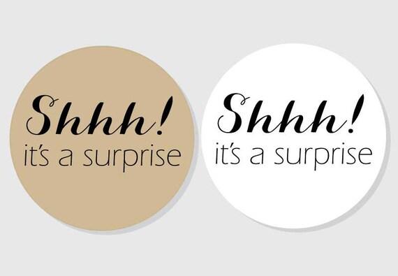 shhh it s a suprise stickers kraft white matte etsy