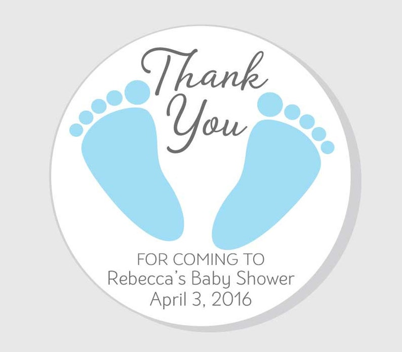 Baby Feet Thank You For Coming Baby Shower Stickers Blue