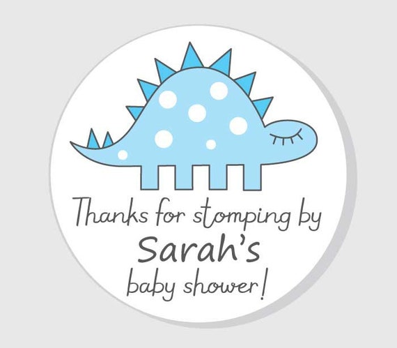 Dinosaur Thank You For Coming Baby Shower Stickers Blue Boy Etsy