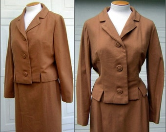 "Vintage Suit Toffee Brown Wool Notched Waist Hand Tailored Fine Wool & Silk Lining BUST 44"" WAIST 28"""