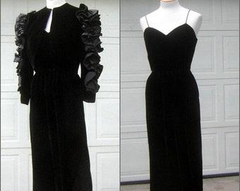 aae0bad2d06 Vintage Dramatic Gown Matador Ruffled Bolero Jacket over Sleek   Sexy Black  Velvet Cocktail Dress Michael Maiello   Pat Richards Size 8 - S