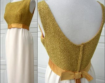 """Vintage 60s Gold Party Dress Shimmery Classy Bust 40"""" Perfect for New Years or Christmas"""