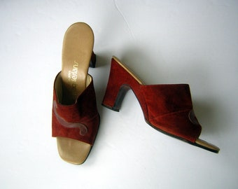 a00d1724b076 Vintage 70s Heels Mules - California MAGDESIANS Rust Brown Suede   Swirl  Face Platform Heel US Size 9 1 2 M Fabulous Condition