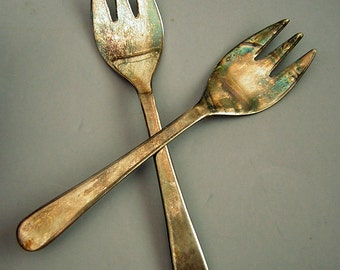 Silverplate Danish Modern Pickle Forks Sheffield England with free tarnish