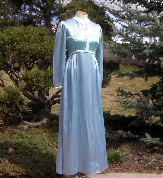 Vintage Ice Blue Satin Gown with Elegant Pearl Ban