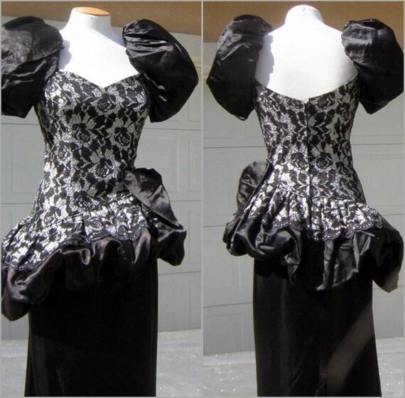 Vintage 80s Asymmetric Pouf Party Gown Long Dress