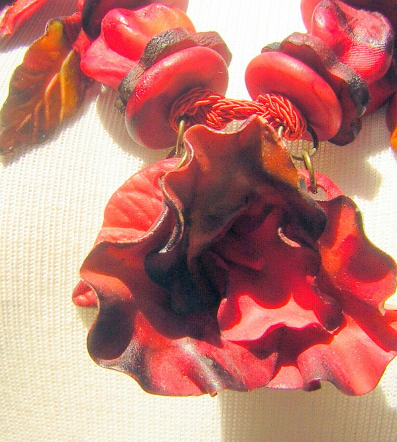 Tropical Statement Piece Good /& GAUDY Necklace Chunky Hand Crafted Marble RED Polymer