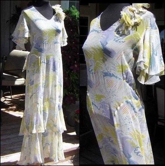 Vintage 20s 30s Dress Sheer Pastel Blue & Yellow C