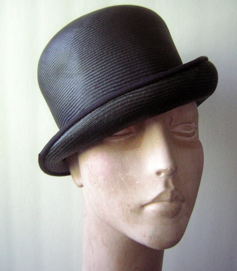 Vintage Bowler Hat 60s Black Straw by Anne Marie Clockwork Orange High Fashion Goth