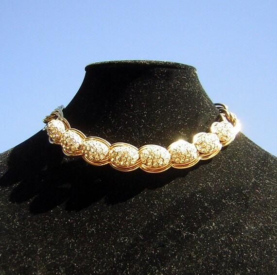 Vintage Rhinestone Choker Necklace Adjustable Eleg