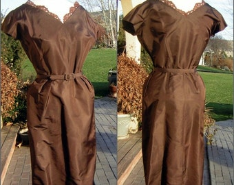 Vintage 50s suit Brown Wiggle Dress & Matching Jacket Curvy Medium to Large MINT condition