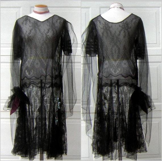 Black sheer flapper dress