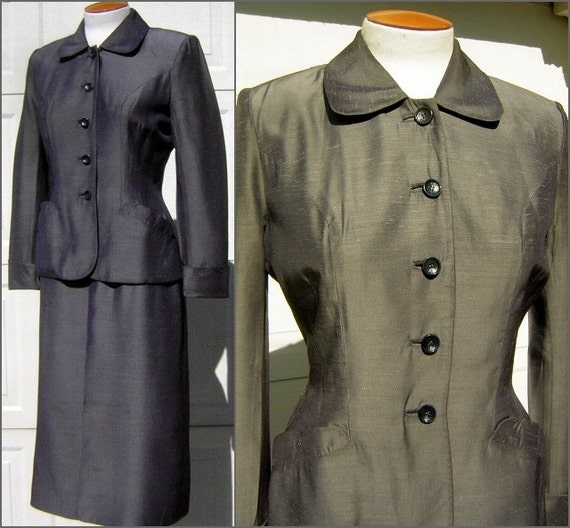 Grey Sharkskin Suit Vintage 40s 50s Fitted Curvy C