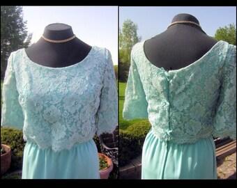 Aqua Lace Dress Vintage 60s Emma Domb Size 12 - Fabulous Color & Curves