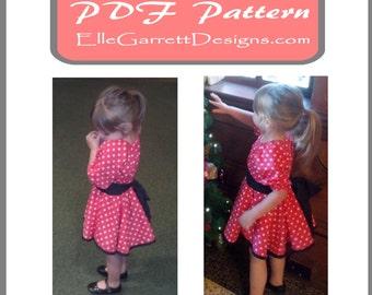 PDF Pattern - Girls Twirl Dress Pattern 6 months - girls 12