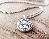 Tiny silver Wolf necklace, gift for wife or girlfriend, Wolfnoot