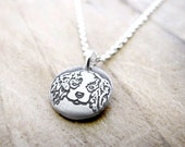 Tiny Cavalier King Charles Spaniel necklace in silver, dog memorial jewelry