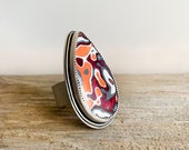 Adjustable Fordite ring in sterling silver, red and orange Detroit agate cocktail ring, gift for her