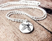 Tiny Honey Bee necklace in silver, gift for nature lover