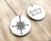 Sterling silver compass necklace with quote, You are my truth north, for women and men, Valentines gift for her, gift for him
