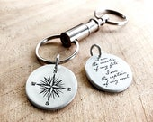 Graduation gift compass keychain w Invictus quote in sterling silver, I am the master of my fate, key chain for men retirement key ring