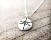 Tiny dragonfly necklace in silver, gift for mom, dragonfly jewelry