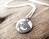 Tiny Cockatiel necklace in silver, pet memorial jewelry