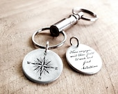 Compass keychain w quote in sterling silver, key chain for men or women, retirement gift, graduation key ring, going away, Voyager, gap year