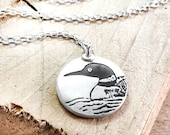 Loon necklace in silver, Common Loon pendant, bird jewelry