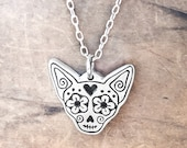 Chihuahua sugar skull necklace in sterling silver, Day of the Dead dog memorial necklace