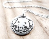 Dumbo rat necklace in silver, pet rat jewelry