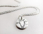 Tiny  dairy goat necklace in silver, Capricorn, goat jewelry, gift for girlfriend or daughter